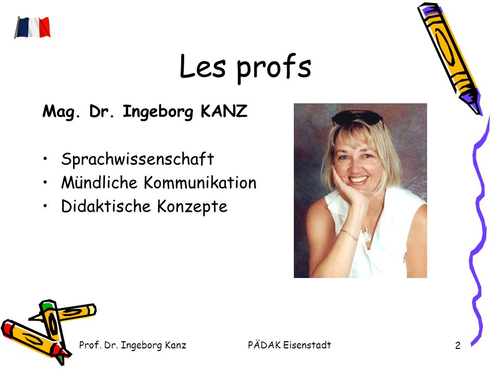 Prof. Dr. Ingeborg KanzPÄDAK Eisenstadt 2 Les profs Mag.