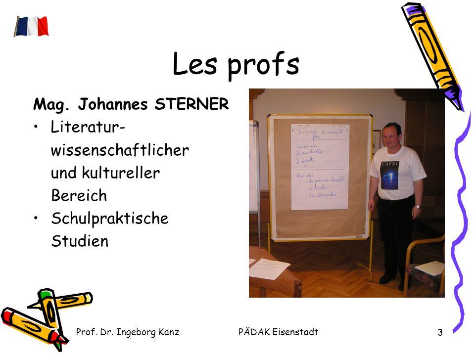 Prof. Dr. Ingeborg KanzPÄDAK Eisenstadt 3 Les profs Mag.