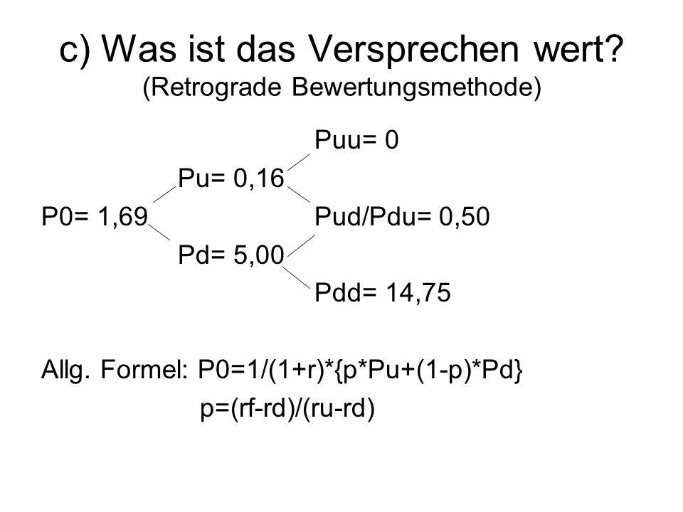 P={0,05-(-0,05)}/{(0,1-(-0,05)}=0,666666667 Pu=(1/1,05)*(0,6667*0+0,3333*0,5)=0,1587 Pd=(1/1,05)*(0,6667*0,5+0,3333*14,75)=4,9995 P0=(1/1,05)*(0,6667*0,1587+0,3333*4,9995)=1,69 1,69*1000=1690 und nicht 2000