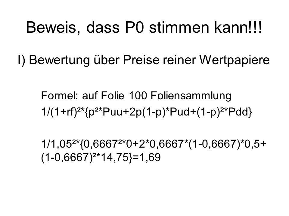 Beweis, dass P0 stimmen kann!!! I) Bewertung über Preise reiner Wertpapiere Formel: auf Folie 100 Foliensammlung 1/(1+rf)²*{p²*Puu+2p(1-p)*Pud+(1-p)²*