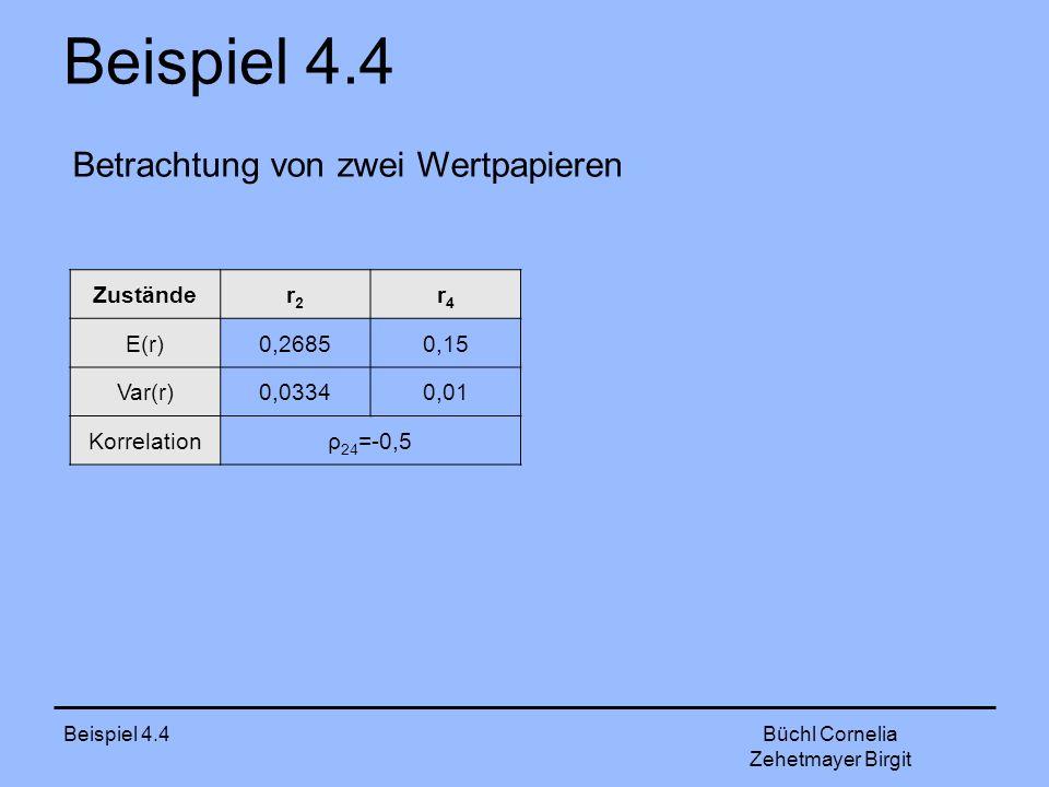 Beispiel 4.4 Büchl Cornelia Zehetmayer Birgit Betrachtung von zwei Wertpapieren Zuständer2r2 r4r4 E(r)0,26850,15 Var(r)0,03340,01 Korrelationρ 24 =-0,