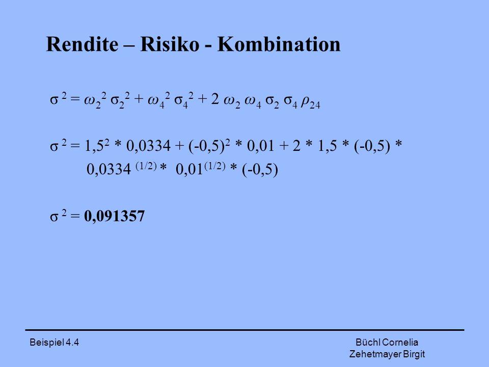 Beispiel 4.4 Büchl Cornelia Zehetmayer Birgit Rendite – Risiko - Kombination σ 2 = ω 2 2 σ 2 2 + ω 4 2 σ 4 2 + 2 ω 2 ω 4 σ 2 σ 4 ρ 24 σ 2 = 1,5 2 * 0,