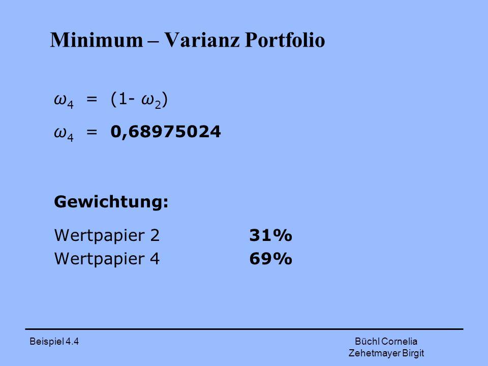 Beispiel 4.4 Büchl Cornelia Zehetmayer Birgit Minimum – Varianz Portfolio ω 4 = (1- ω 2 ) ω 4 = 0,68975024 Gewichtung: Wertpapier 231% Wertpapier 469%