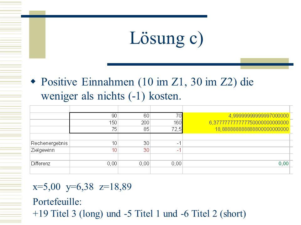 Lösung c) Positive Einnahmen (10 im Z1, 30 im Z2) die weniger als nichts (-1) kosten.