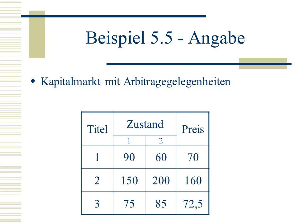 Beispiel 5.5 - Angabe Kapitalmarkt mit Arbitragegelegenheiten Titel Zustand Preis 12 1906070 2150200160 3758572,5