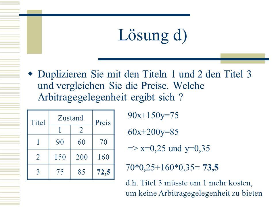 Lösung d) x=0,25 y=0,35 (Ergebnisse aus dem Gleichungssystem) => Ich kaufe 100 vom Titel 3 und verkaufe 25 vom Titel 1 und 35 vom Titel 2.