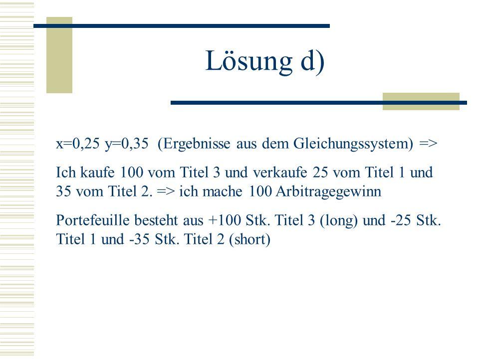 Angabe a) Sichere Einnahmen (500 in jedem Zustand) die weniger als nichts kosten (Preis des Portefeuilles -1).