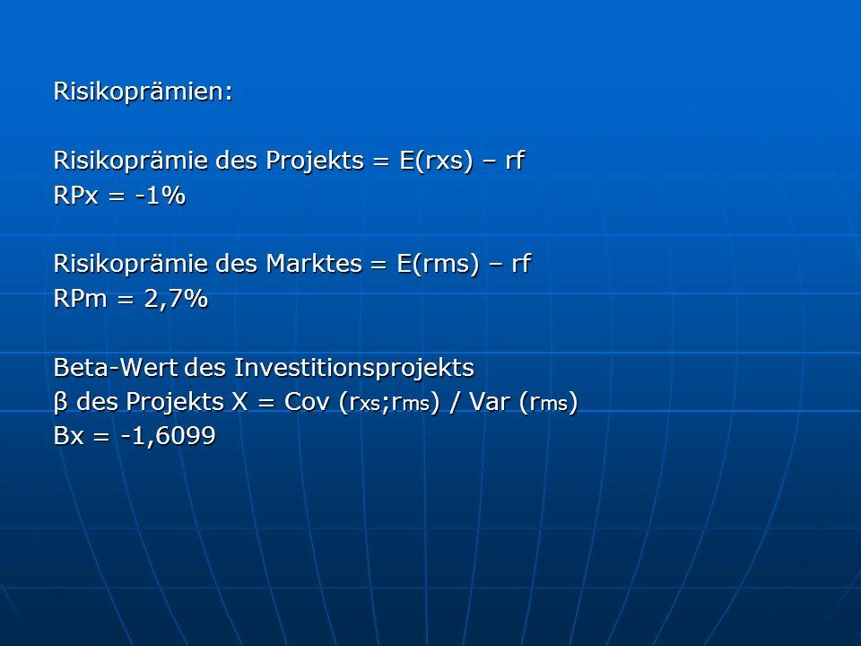 Risikoprämien: Risikoprämie des Projekts = E(rxs) – rf RPx = -1% Risikoprämie des Marktes = E(rms) – rf RPm = 2,7% Beta-Wert des Investitionsprojekts β des Projekts X = Cov (r xs ;r ms ) / Var (r ms ) Βx = -1,6099