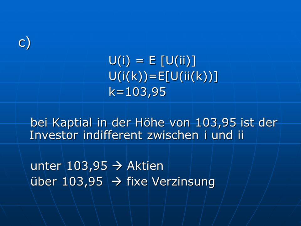 c) U(i) = E [U(ii)] U(i(k))=E[U(ii(k))]k=103,95 bei Kaptial in der Höhe von 103,95 ist der Investor indifferent zwischen i und ii bei Kaptial in der Höhe von 103,95 ist der Investor indifferent zwischen i und ii unter 103,95 Aktien unter 103,95 Aktien über 103,95 fixe Verzinsung über 103,95 fixe Verzinsung