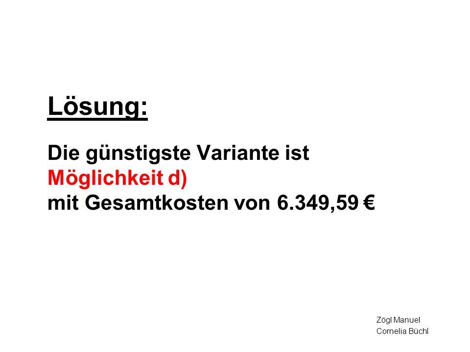 Lösung: Die günstigste Variante ist Möglichkeit d) mit Gesamtkosten von 6.349,59 Zögl Manuel Cornelia Büchl