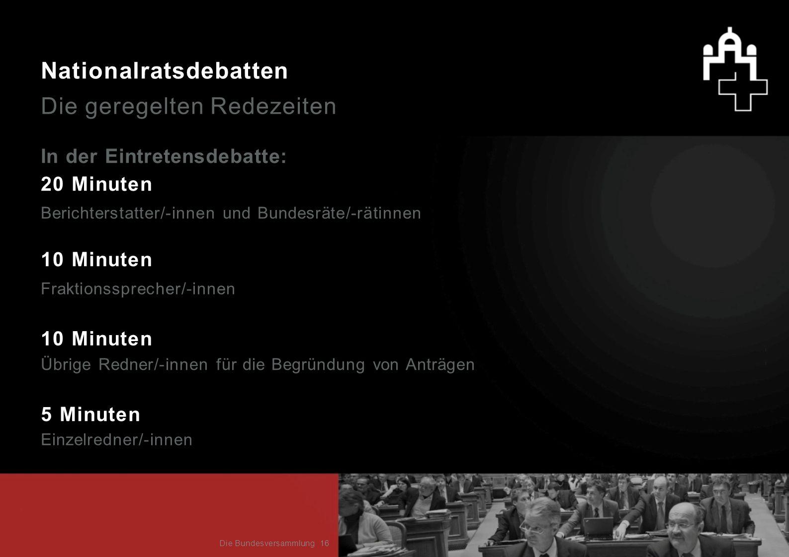 Nationalratsdebatten Die geregelten Redezeiten In der Eintretensdebatte: 20 Minuten 10 Minuten 5 Minuten Fraktionssprecher/-innen Übrige Redner/-innen