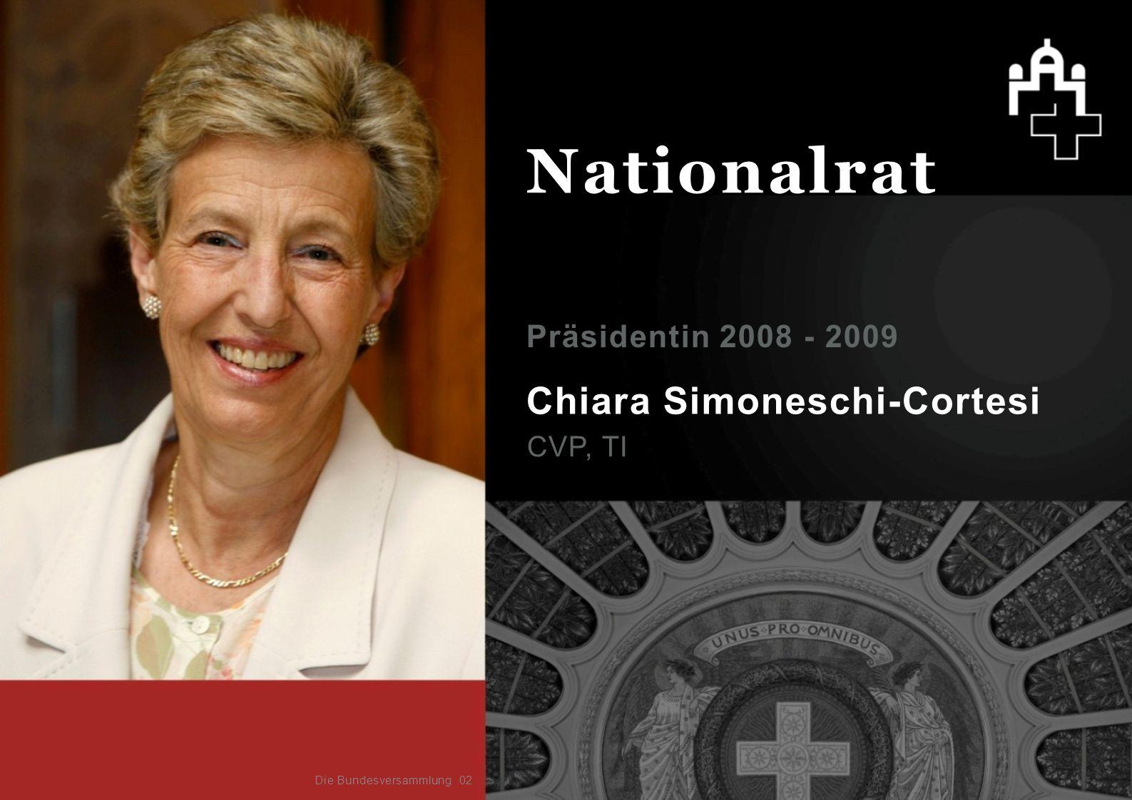 Chiara Simoneschi-Cortesi CVP, TI Präsidentin 2008 - 2009 02 Nationalrat Die Bundesversammlung