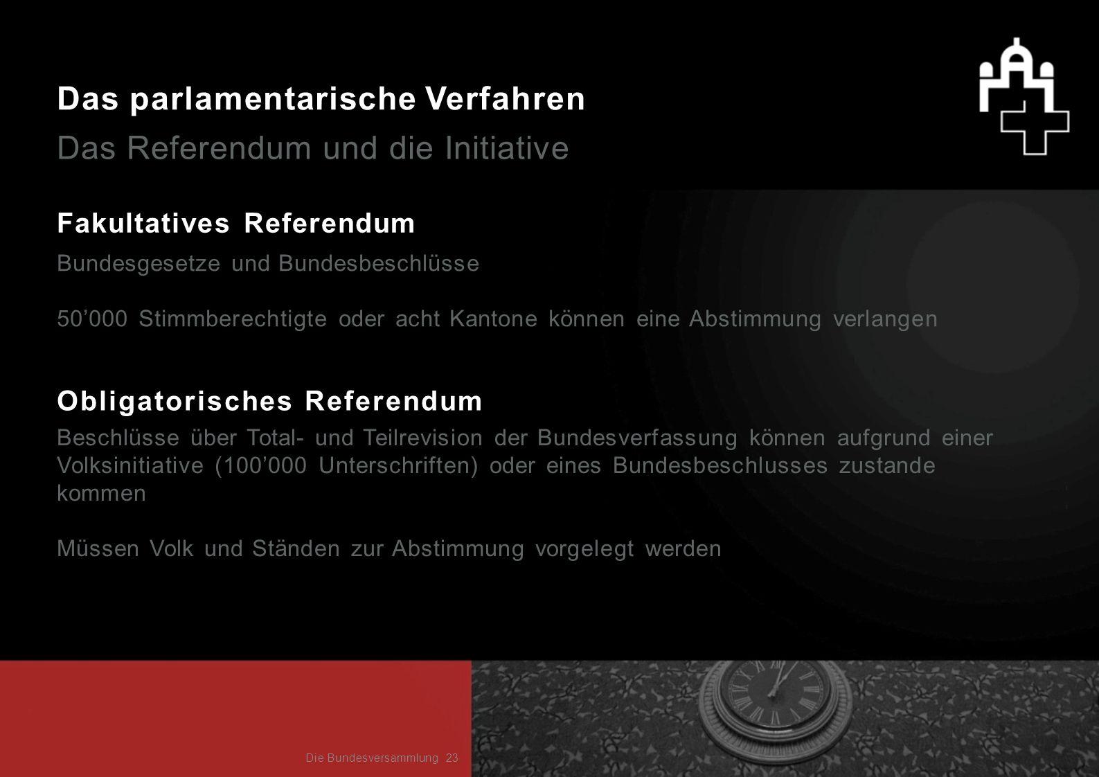 Das parlamentarische Verfahren Das Referendum und die Initiative Fakultatives Referendum Bundesgesetze und Bundesbeschlüsse 50000 Stimmberechtigte ode