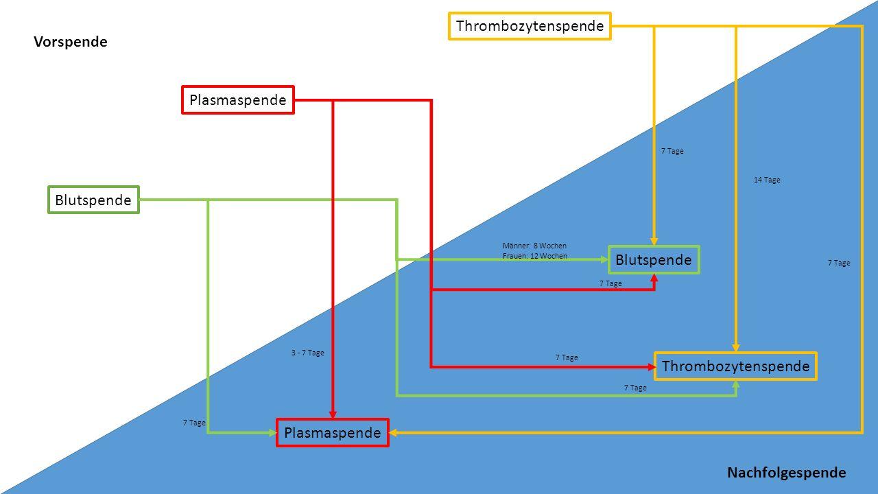 Plasmaspende Thrombozytenspende Blutspende Plasmaspende Thrombozytenspende Blutspende 7 Tage Männer: 8 Wochen Frauen: 12 Wochen 3 - 7 Tage 7 Tage 14 T
