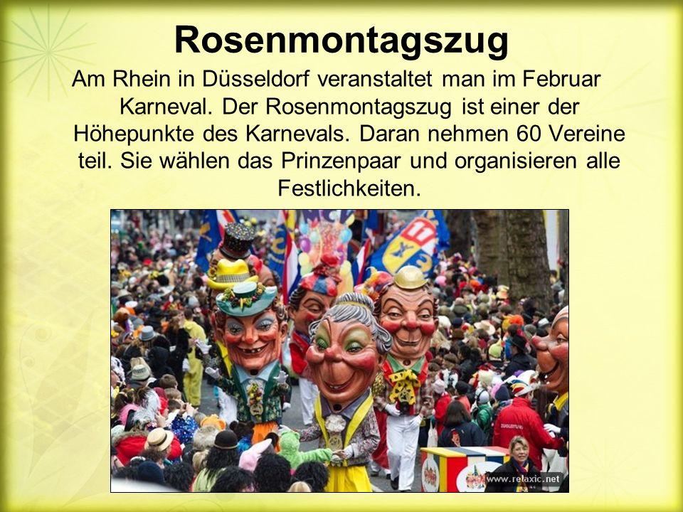 Rosenmontagszug Am Rhein in Düsseldorf veranstaltet man im Februar Karneval.