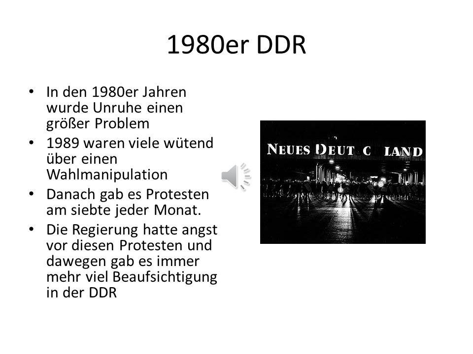 1980er DDR In den 1980er Jahren wurde Unruhe einen größer Problem 1989 waren viele wütend über einen Wahlmanipulation Danach gab es Protesten am siebte jeder Monat.