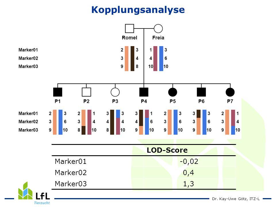 Dr. Kay-Uwe Götz, ITZ-L Kopplungsanalyse LOD-Score Marker01-0,02 Marker020,4 Marker031,3