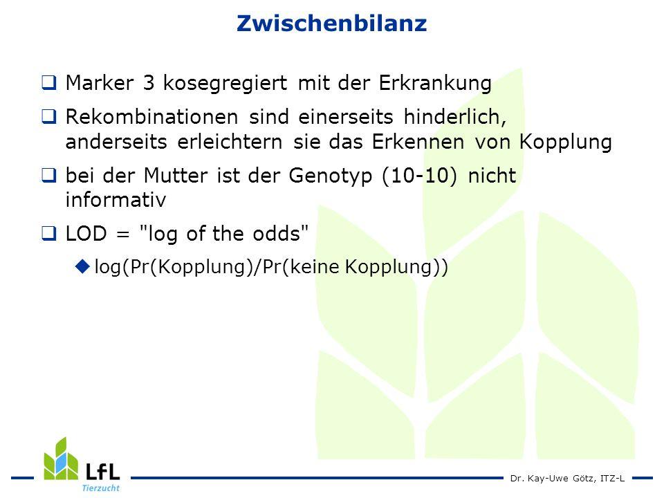 Dr. Kay-Uwe Götz, ITZ-L Zwischenbilanz Marker 3 kosegregiert mit der Erkrankung Rekombinationen sind einerseits hinderlich, anderseits erleichtern sie