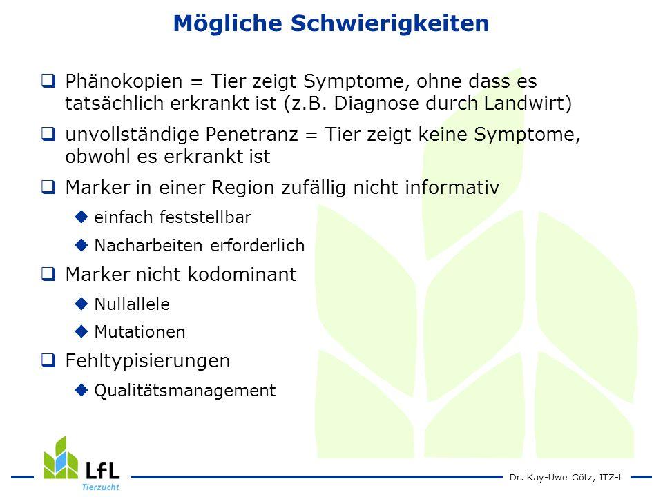 Dr. Kay-Uwe Götz, ITZ-L Mögliche Schwierigkeiten Phänokopien = Tier zeigt Symptome, ohne dass es tatsächlich erkrankt ist (z.B. Diagnose durch Landwir
