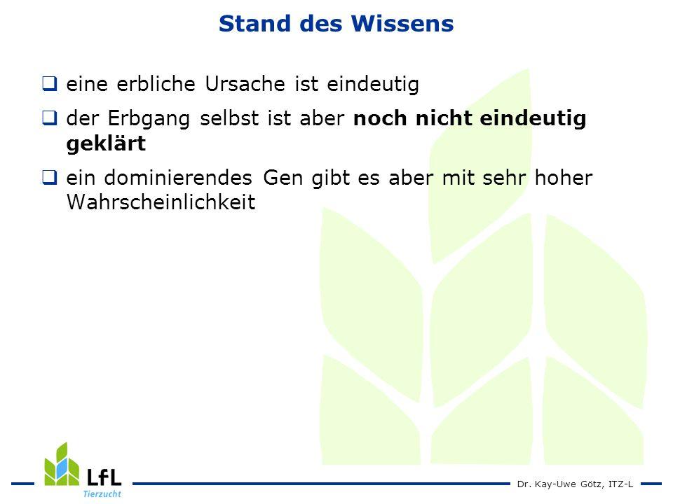 Dr. Kay-Uwe Götz, ITZ-L Stand des Wissens eine erbliche Ursache ist eindeutig der Erbgang selbst ist aber noch nicht eindeutig geklärt ein dominierend