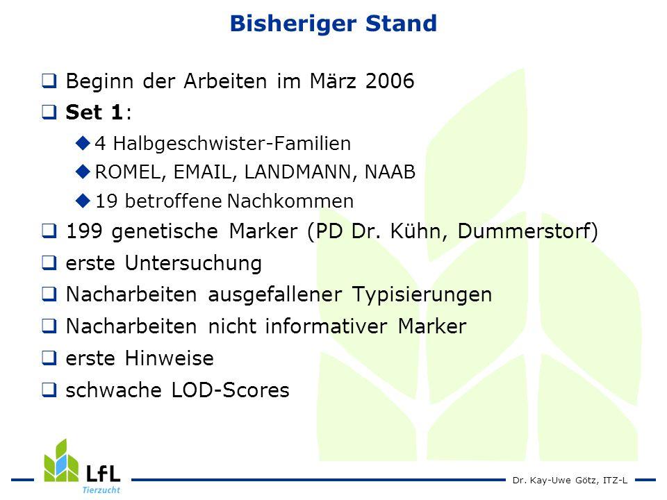 Dr. Kay-Uwe Götz, ITZ-L Bisheriger Stand Beginn der Arbeiten im März 2006 Set 1: 4 Halbgeschwister-Familien ROMEL, EMAIL, LANDMANN, NAAB 19 betroffene
