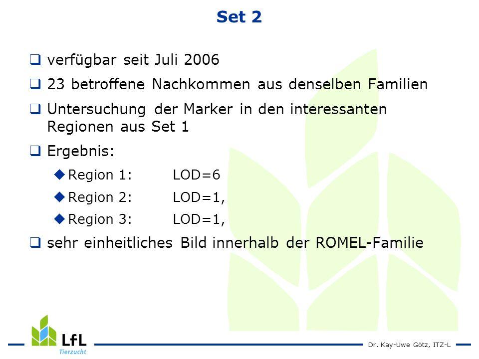 Dr. Kay-Uwe Götz, ITZ-L Set 2 verfügbar seit Juli 2006 23 betroffene Nachkommen aus denselben Familien Untersuchung der Marker in den interessanten Re