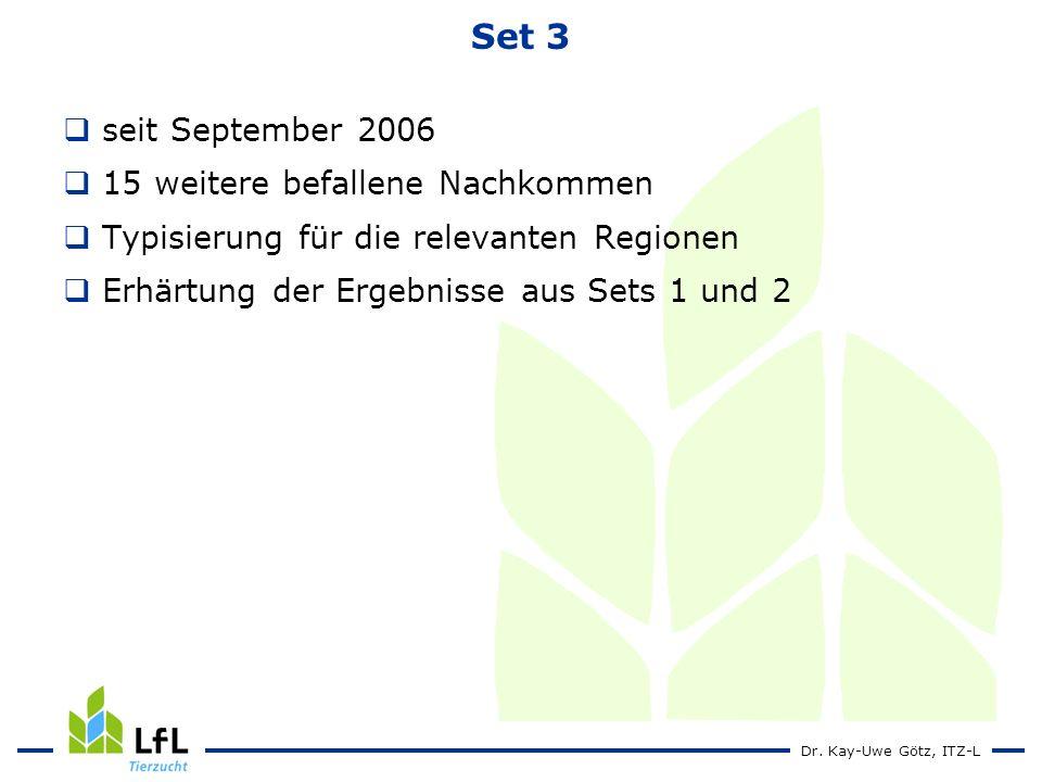 Dr. Kay-Uwe Götz, ITZ-L Set 3 seit September 2006 15 weitere befallene Nachkommen Typisierung für die relevanten Regionen Erhärtung der Ergebnisse aus