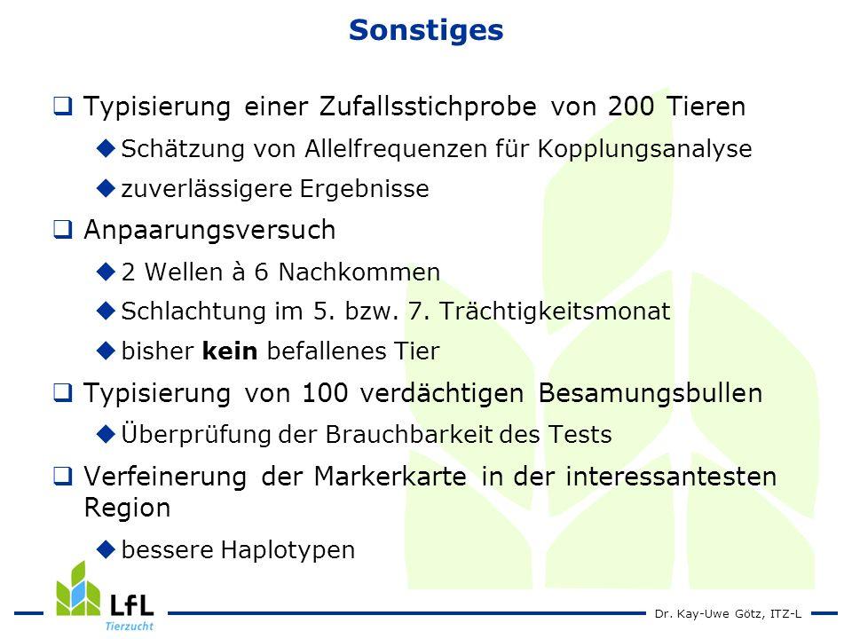 Dr. Kay-Uwe Götz, ITZ-L Sonstiges Typisierung einer Zufallsstichprobe von 200 Tieren Schätzung von Allelfrequenzen für Kopplungsanalyse zuverlässigere