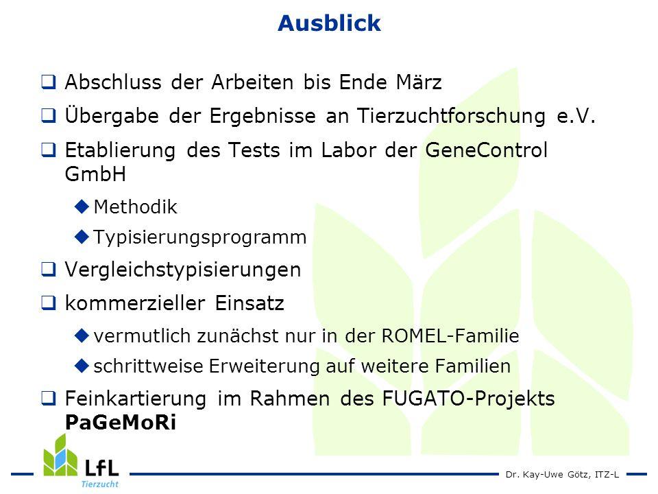 Dr. Kay-Uwe Götz, ITZ-L Ausblick Abschluss der Arbeiten bis Ende März Übergabe der Ergebnisse an Tierzuchtforschung e.V. Etablierung des Tests im Labo