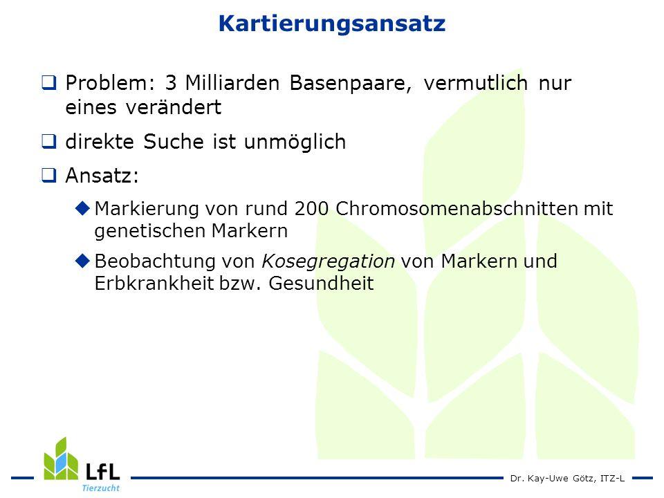 Dr. Kay-Uwe Götz, ITZ-L Kartierungsansatz Problem: 3 Milliarden Basenpaare, vermutlich nur eines verändert direkte Suche ist unmöglich Ansatz: Markier