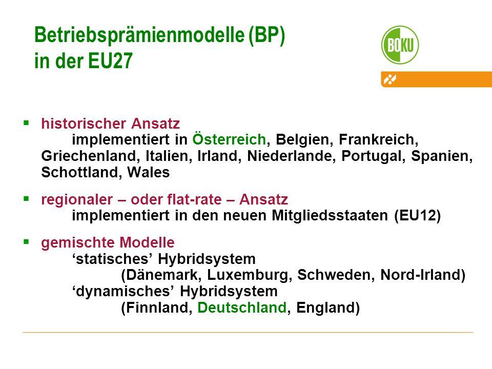 Betriebsprämienmodelle (BP) in der EU27 historischer Ansatz implementiert in Österreich, Belgien, Frankreich, Griechenland, Italien, Irland, Niederlan