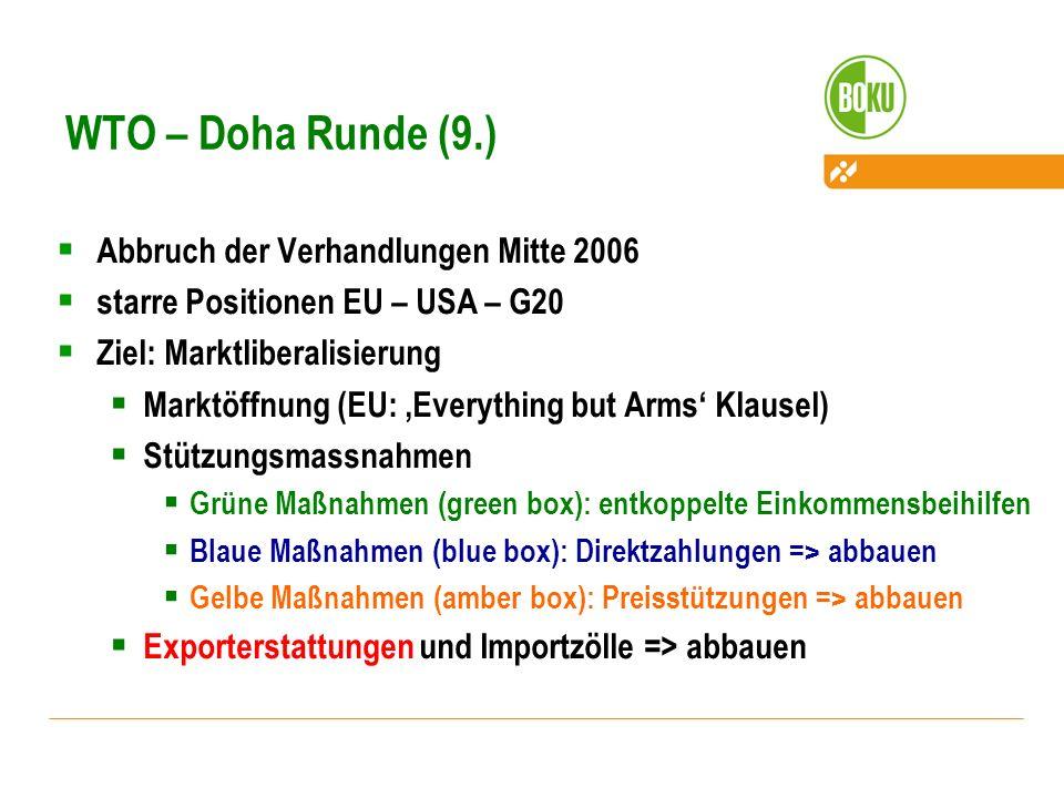 WTO – Doha Runde (9.) Abbruch der Verhandlungen Mitte 2006 starre Positionen EU – USA – G20 Ziel: Marktliberalisierung Marktöffnung (EU: Everything bu