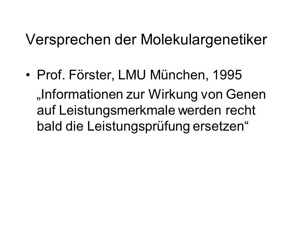 Versprechen der Molekulargenetiker Prof. Förster, LMU München, 1995 Informationen zur Wirkung von Genen auf Leistungsmerkmale werden recht bald die Le