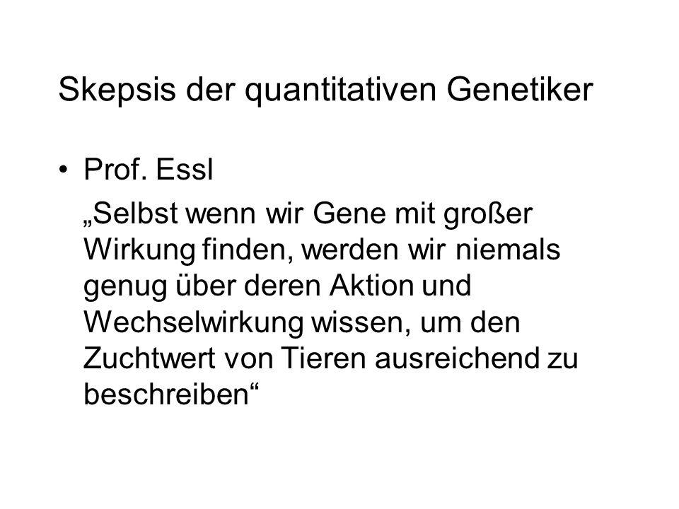 Skepsis der quantitativen Genetiker Prof. Essl Selbst wenn wir Gene mit großer Wirkung finden, werden wir niemals genug über deren Aktion und Wechselw