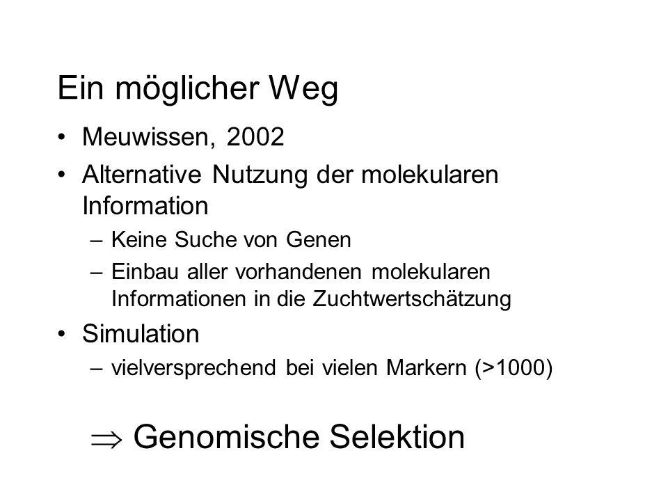 Ein möglicher Weg Meuwissen, 2002 Alternative Nutzung der molekularen Information –Keine Suche von Genen –Einbau aller vorhandenen molekularen Informationen in die Zuchtwertschätzung Simulation –vielversprechend bei vielen Markern (>1000) Genomische Selektion