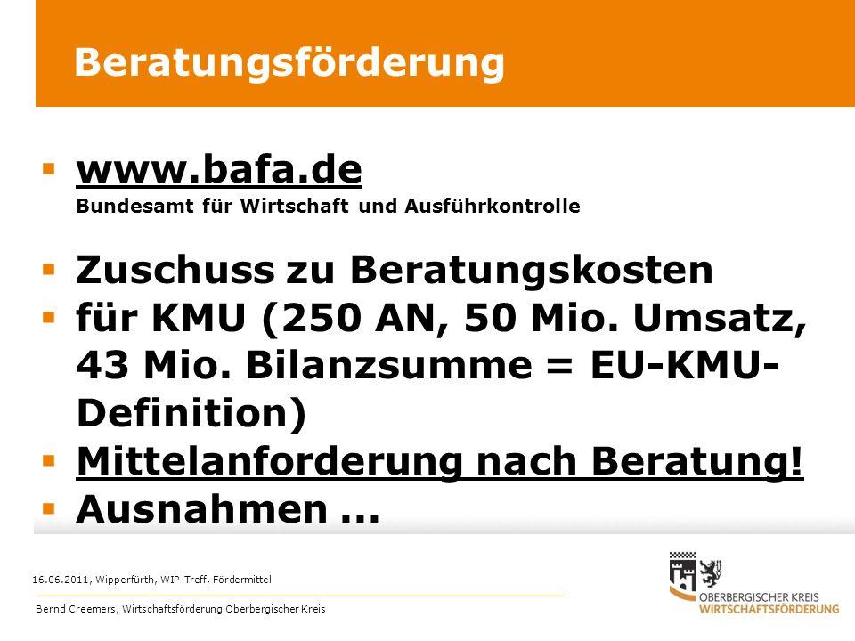 Beratungsförderung www.bafa.de Bundesamt für Wirtschaft und Ausführkontrolle www.bafa.de Zuschuss zu Beratungskosten für KMU (250 AN, 50 Mio. Umsatz,