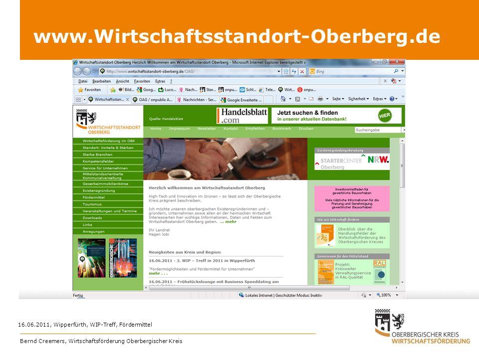 www.Wirtschaftsstandort-Oberberg.de 16.06.2011, Wipperfürth, WIP-Treff, Fördermittel Bernd Creemers, Wirtschaftsförderung Oberbergischer Kreis