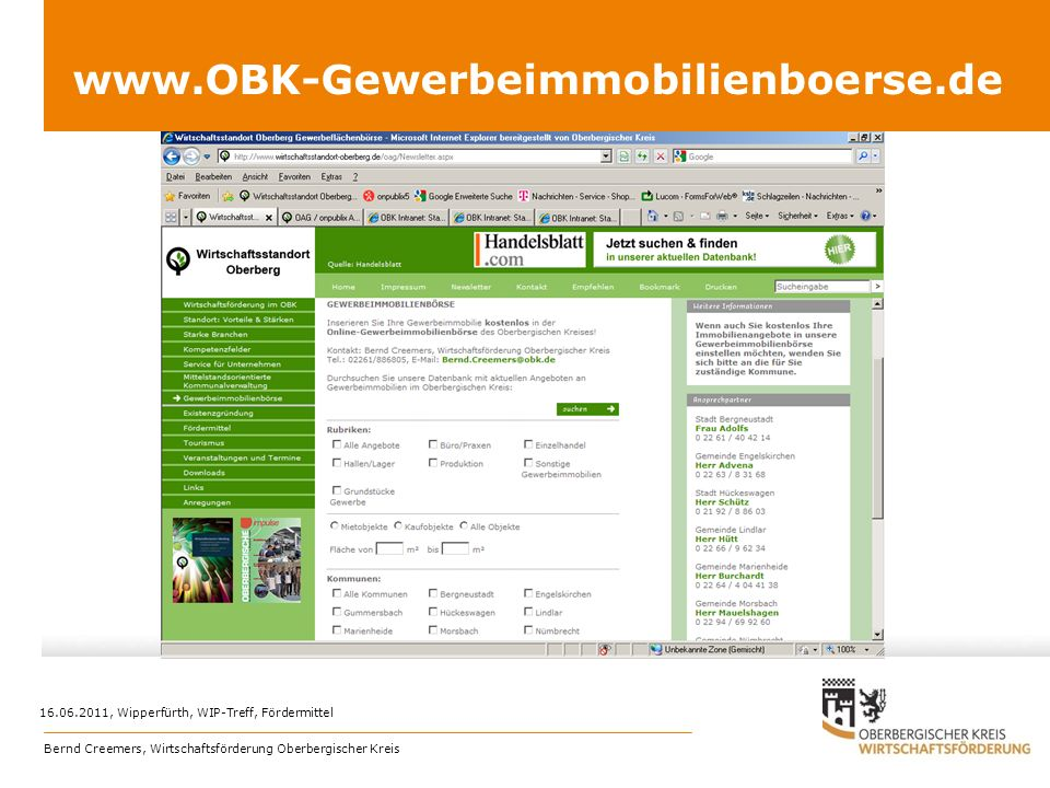 www.OBK-Gewerbeimmobilienboerse.de 16.06.2011, Wipperfürth, WIP-Treff, Fördermittel Bernd Creemers, Wirtschaftsförderung Oberbergischer Kreis