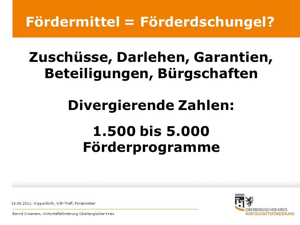 Zuschüsse, Darlehen, Garantien, Beteiligungen, Bürgschaften Divergierende Zahlen: 1.500 bis 5.000 Förderprogramme Fördermittel = Förderdschungel? 16.0