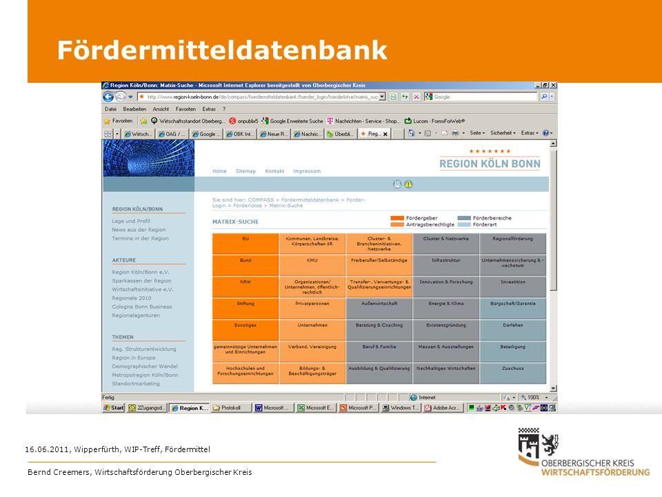 Fördermitteldatenbank Bernd Creemers, Wirtschaftsförderung Oberbergischer Kreis 16.06.2011, Wipperfürth, WIP-Treff, Fördermittel
