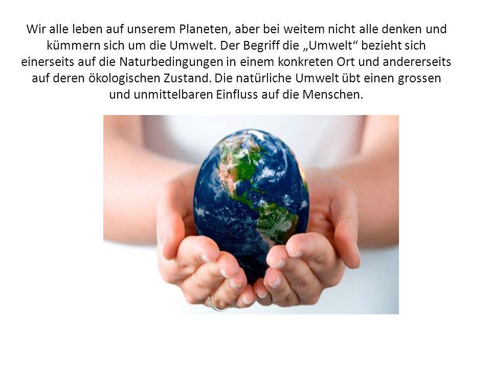 Wir alle leben auf unserem Planeten, aber bei weitem nicht alle denken und kümmern sich um die Umwelt.