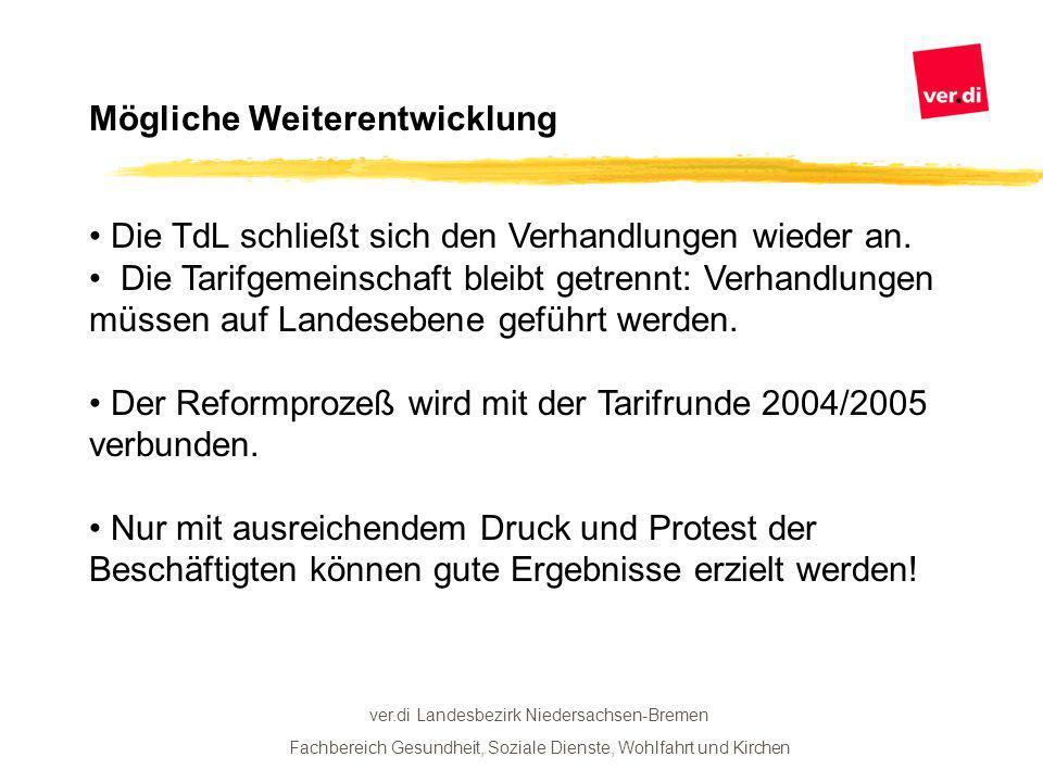ver.di Landesbezirk Niedersachsen-Bremen Fachbereich Gesundheit, Soziale Dienste, Wohlfahrt und Kirchen Mögliche Weiterentwicklung Die TdL schließt sich den Verhandlungen wieder an.