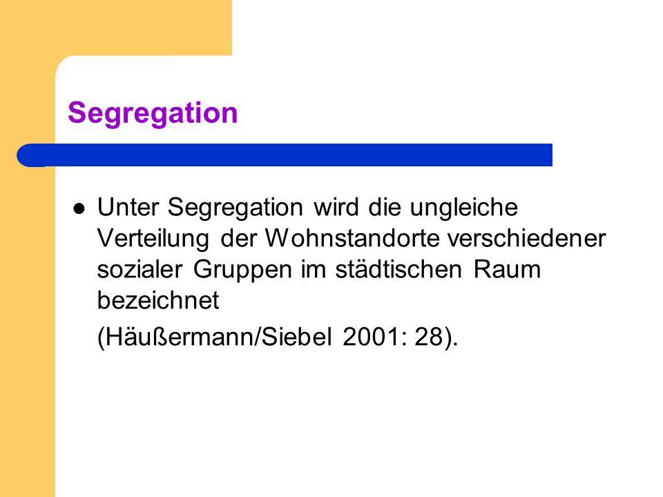 Segregation Unter Segregation wird die ungleiche Verteilung der Wohnstandorte verschiedener sozialer Gruppen im städtischen Raum bezeichnet (Häußerman