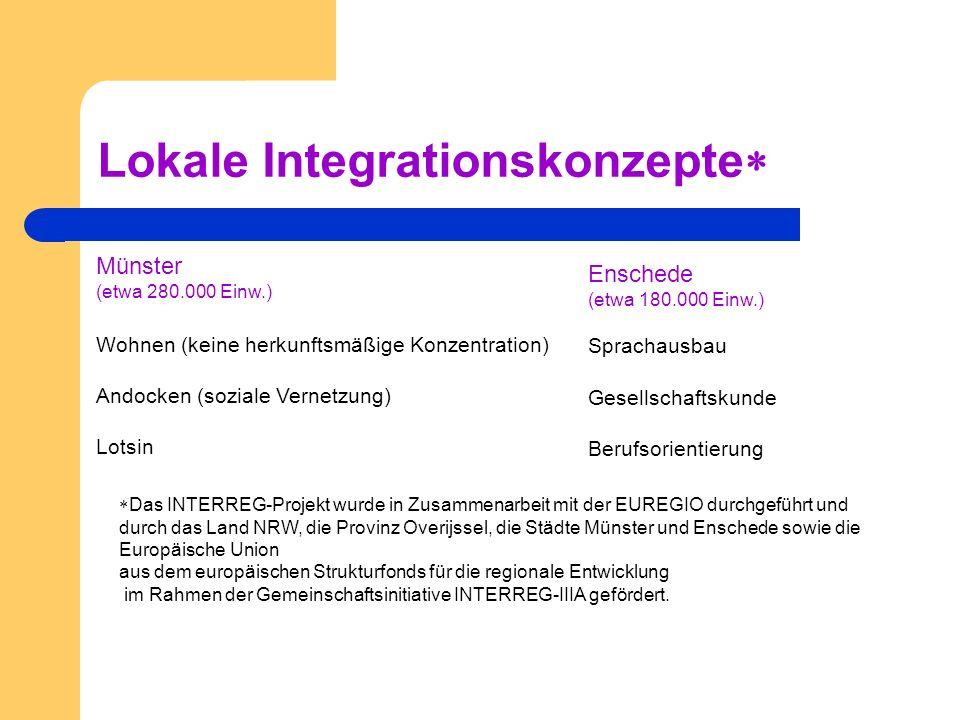 Lokale Integrationskonzepte Enschede (etwa 180.000 Einw.) Sprachausbau Gesellschaftskunde Berufsorientierung Münster (etwa 280.000 Einw.) Wohnen (kein