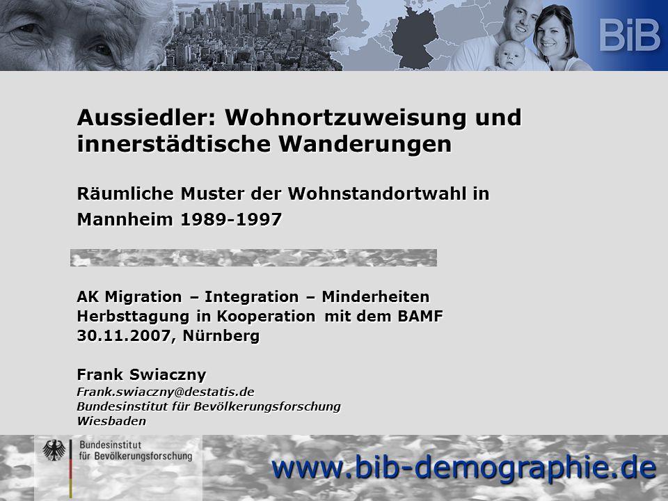 www.bib-demographie.de Aussiedler: Wohnortzuweisung und innerstädtische Wanderungen Räumliche Muster der Wohnstandortwahl in Mannheim 1989-1997 AK Mig