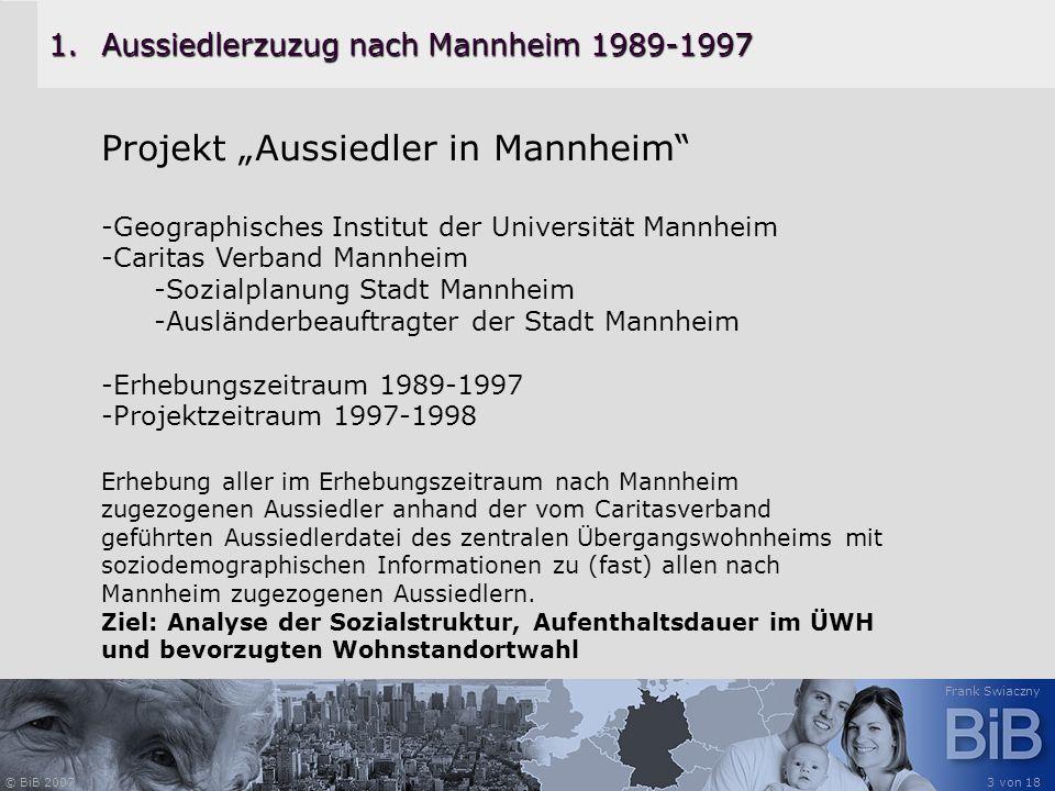 © BiB 2007 Frank Swiaczny 3 von 18 1.Aussiedlerzuzug nach Mannheim 1989-1997 Projekt Aussiedler in Mannheim -Geographisches Institut der Universität M