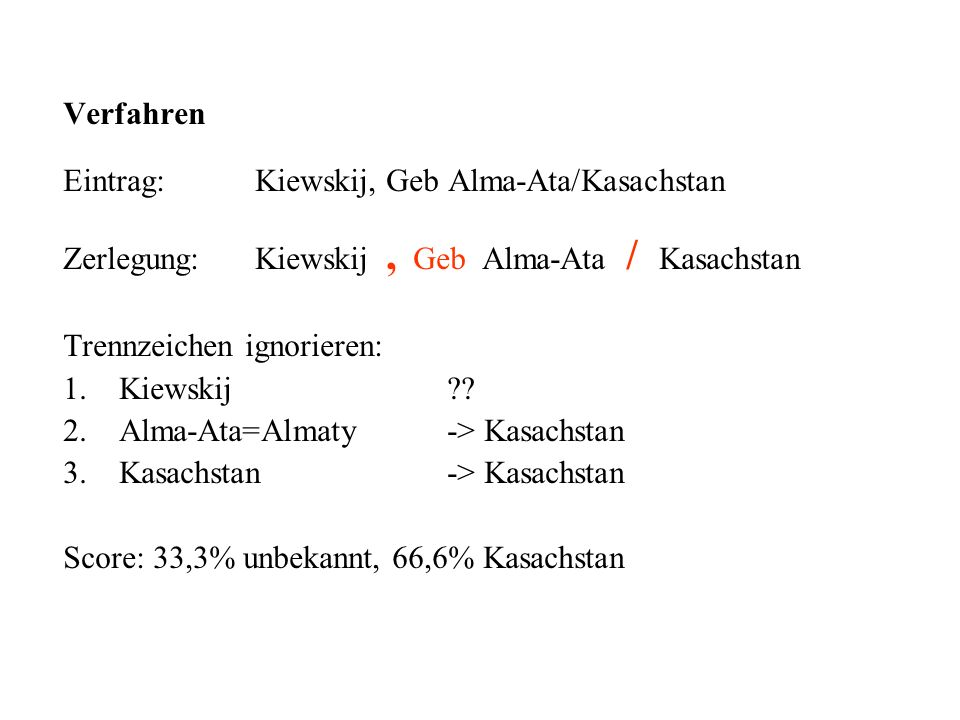 Verfahren Eintrag:Kiewskij, Geb Alma-Ata/Kasachstan Zerlegung:Kiewskij, Geb Alma-Ata / Kasachstan Trennzeichen ignorieren: 1.Kiewskij ?? 2.Alma-Ata=Al