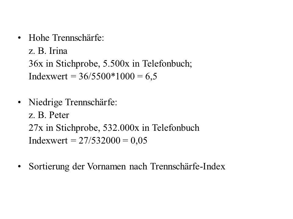 Hohe Trennschärfe: z. B. Irina 36x in Stichprobe, 5.500x in Telefonbuch; Indexwert = 36/5500*1000 = 6,5 Niedrige Trennschärfe: z. B. Peter 27x in Stic