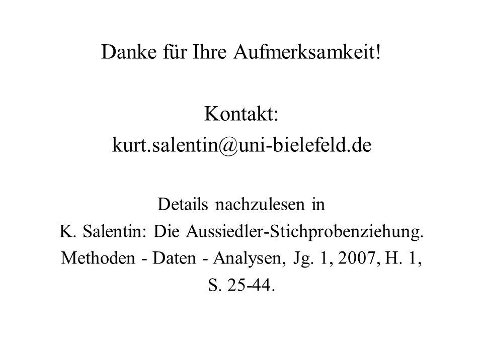 Danke für Ihre Aufmerksamkeit! Kontakt: kurt.salentin@uni-bielefeld.de Details nachzulesen in K. Salentin: Die Aussiedler-Stichprobenziehung. Methoden