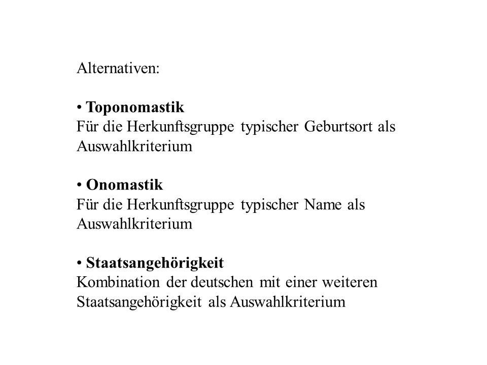 Alternativen: Toponomastik Für die Herkunftsgruppe typischer Geburtsort als Auswahlkriterium Onomastik Für die Herkunftsgruppe typischer Name als Ausw